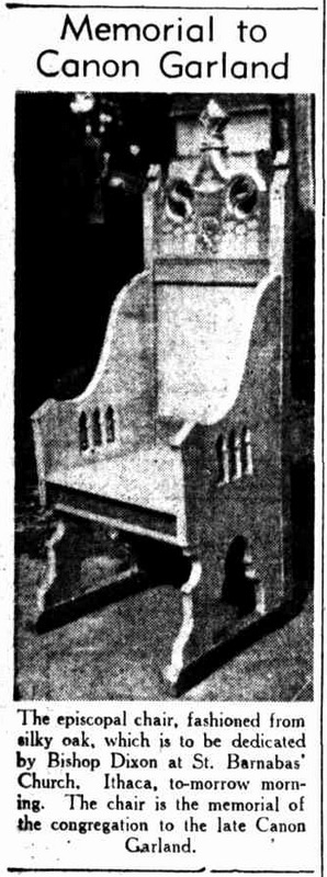 "Image of the episcopal chair donated in memory of Canon David Garland at St Barnabas' Church by Bishop Horace Henry Dixon, in ""The Telegraph"" of 15 June 1940 (page 4)."
